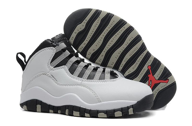 cab9dce26 2018 Cheap Air Jordan 10 Steel White and Black-Light Steel Grey ...