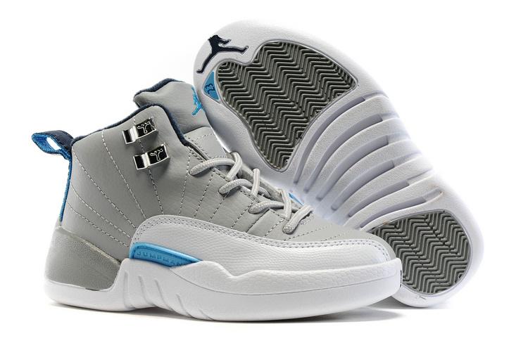 Kids Air Jordan 12 Wolf Grey University Blue For Sale  HO940 ... 4c2b5ce51754