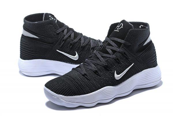 4a4b32deb84a Nike Hyperdunk 2018 Cheap Flyknit Black and White Silver For Sal ...